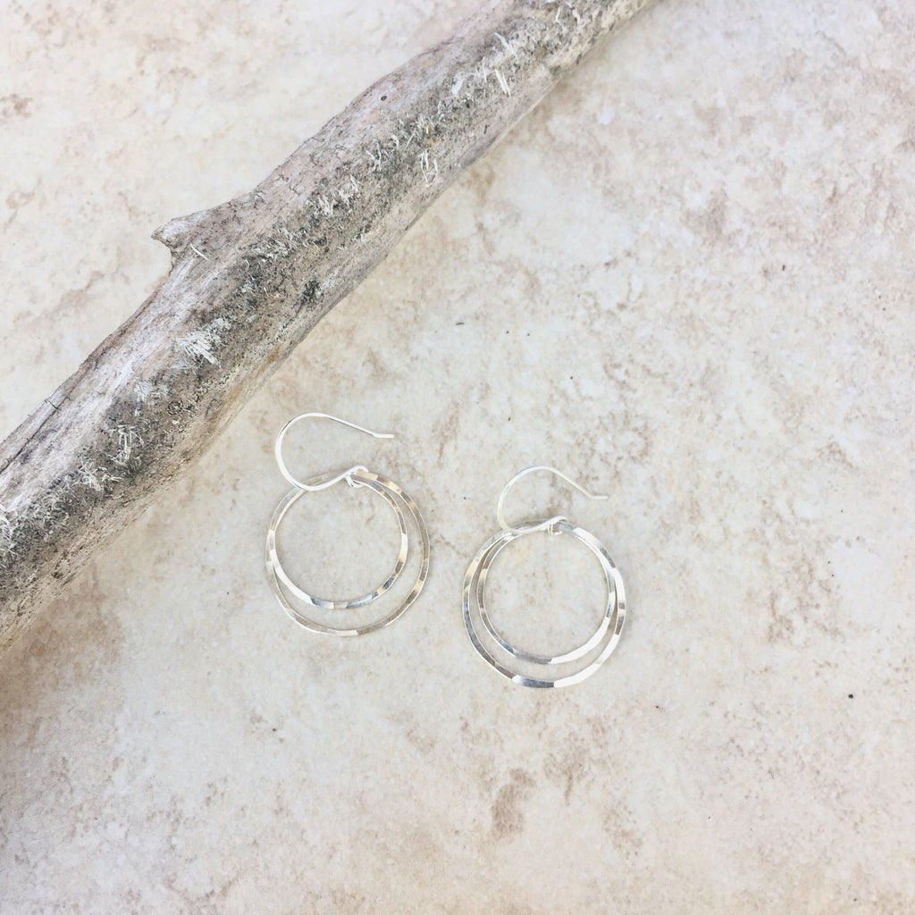 Small Sterling Silver Double Hoops