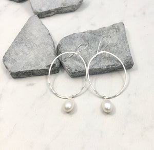 Sterling Silver Pearl Hoop Earrings