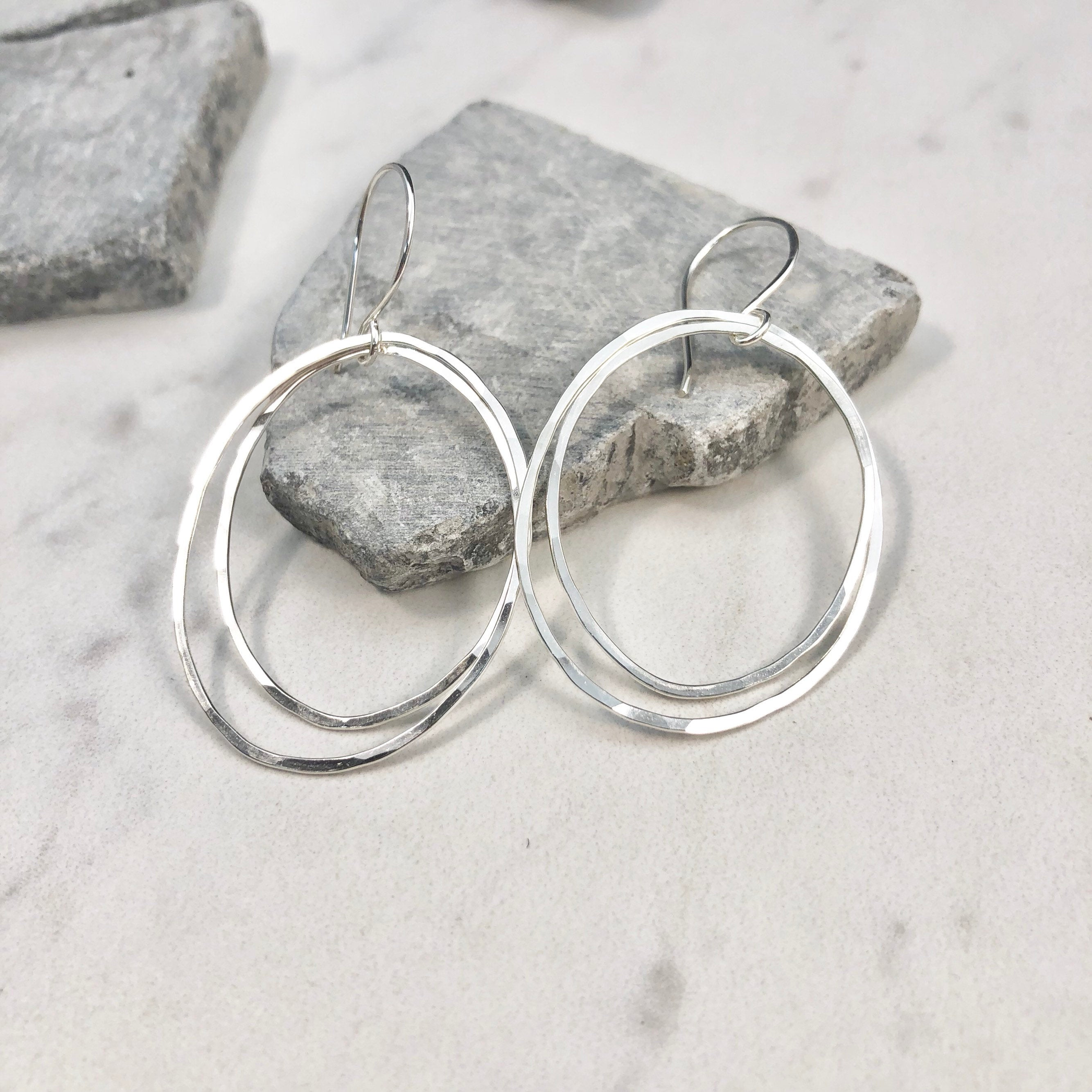 Sterling Silver Double Oval Hoop Earrings