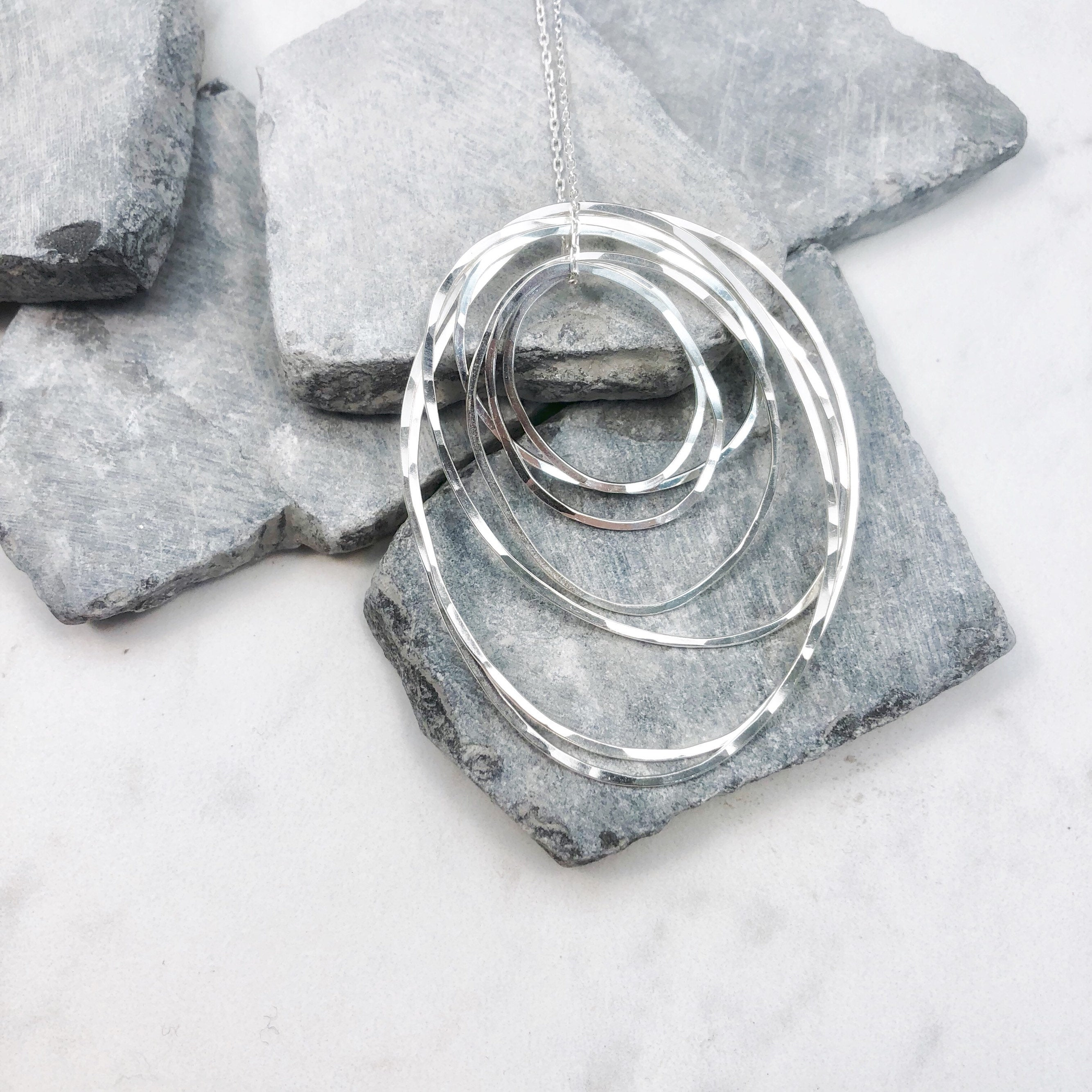 Silver Seven Ring Necklace