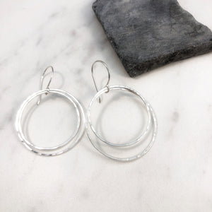 Sterling Silver Round Double Hoop Earrings