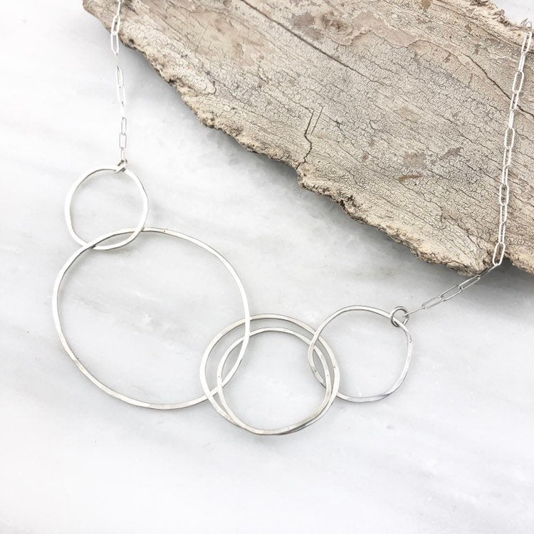 Sterling Silver Eternity Circle Necklace,