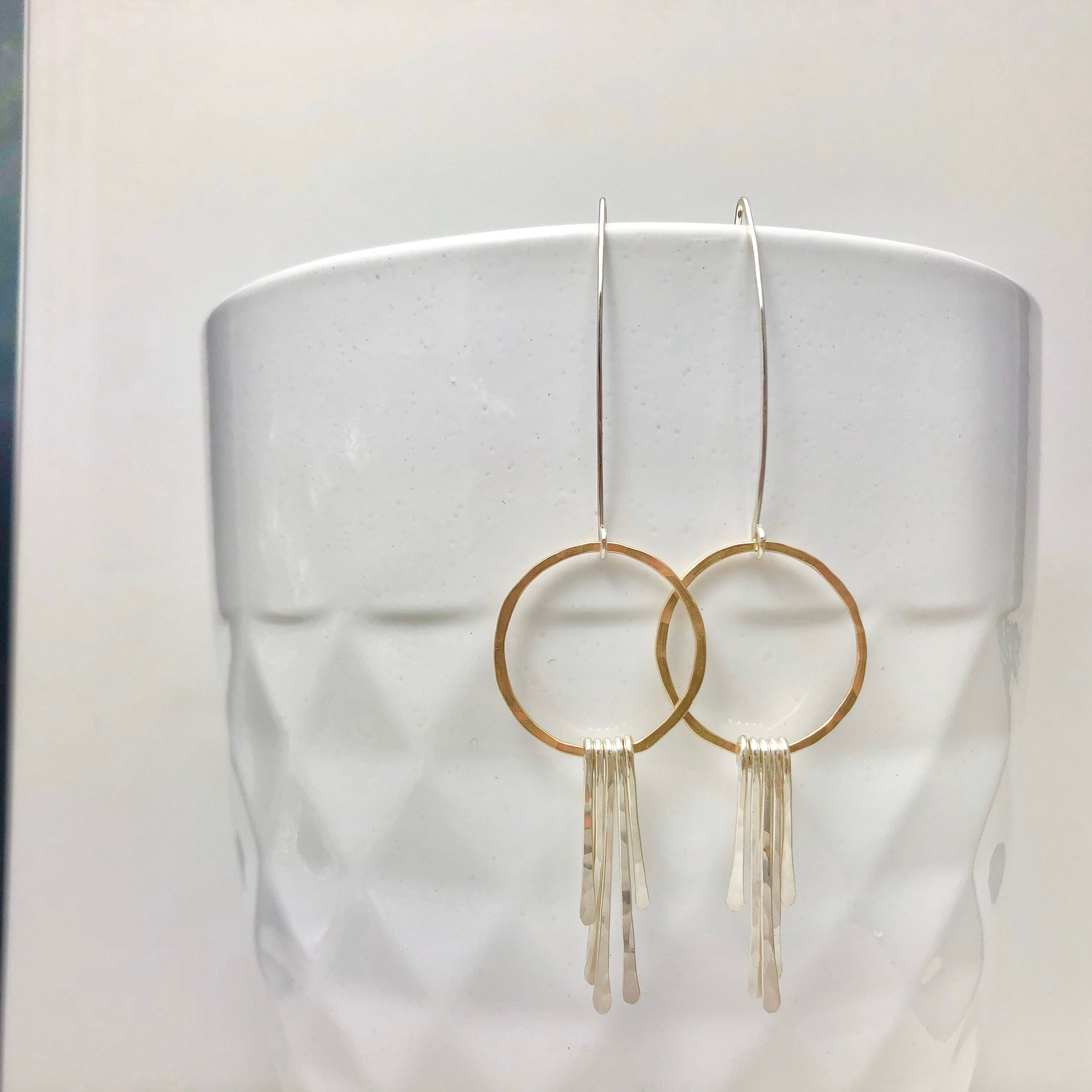 Gold Hoop Earrings with Sterling Silver Bar Fringe