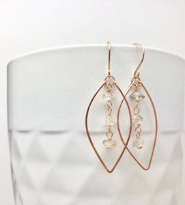 Rose Gold Leaf Earrings with Herkimer Diamonds