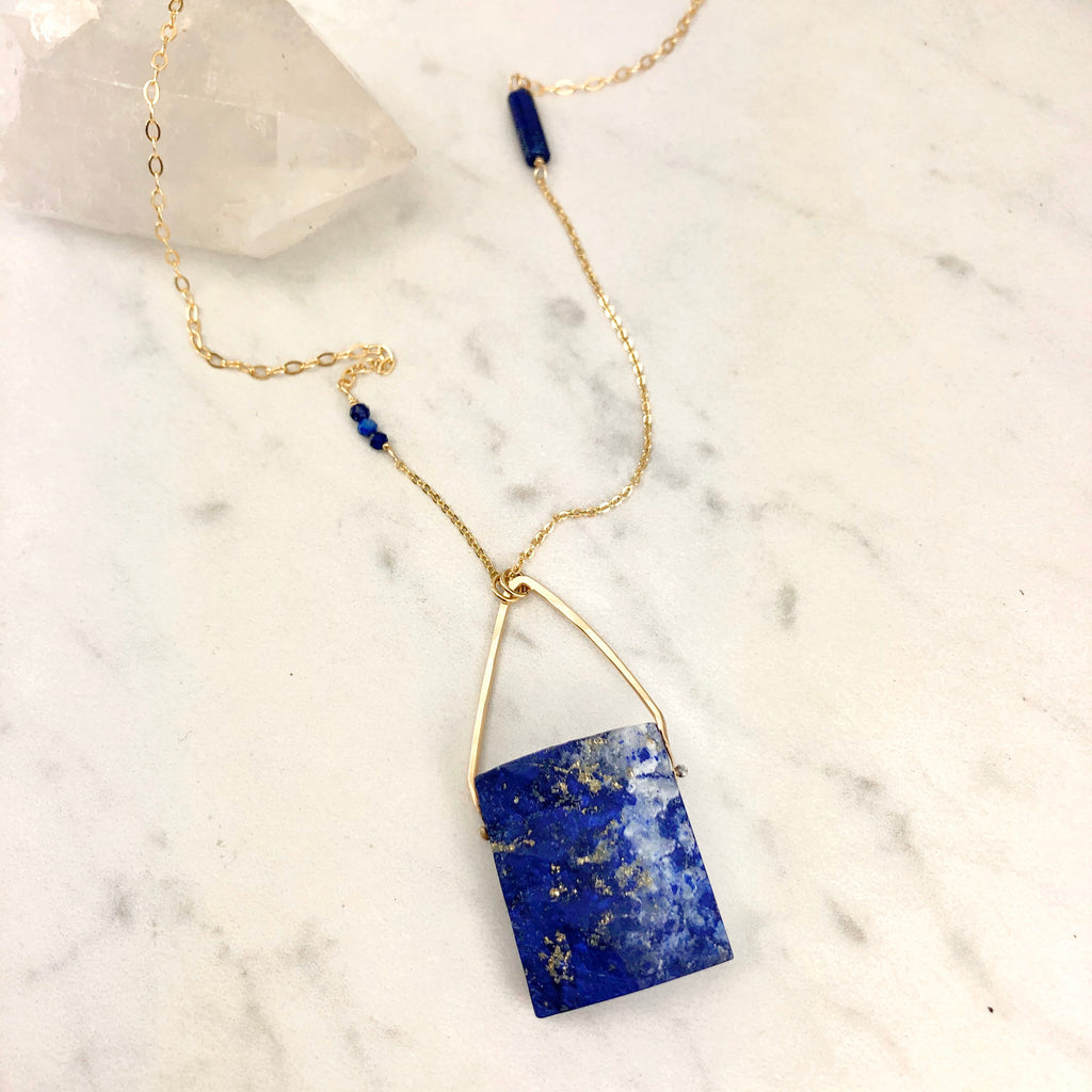 One of a Kind Raw Lapis Lazuli and Gold Necklace