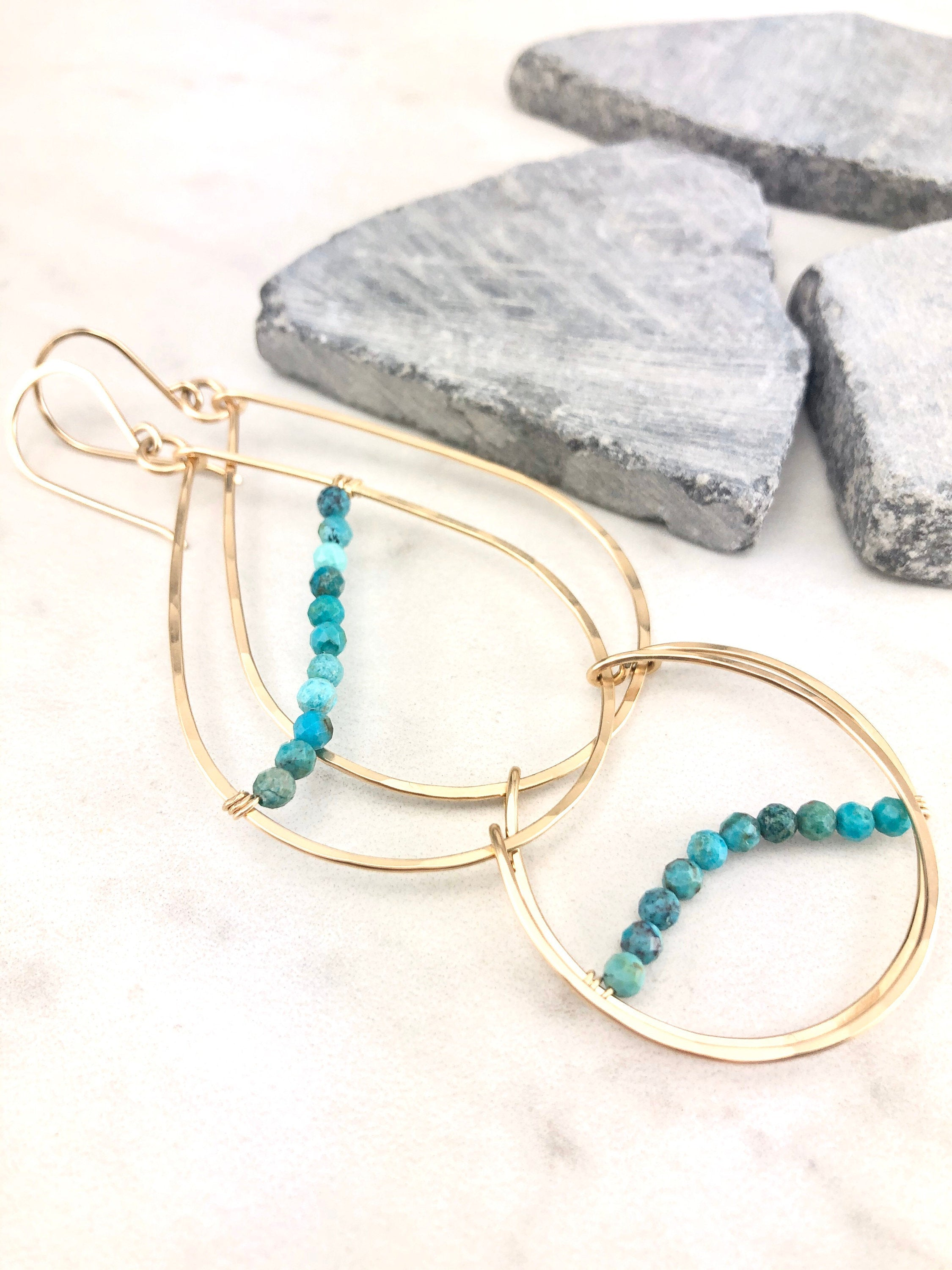 Gold and Turquoise Teardrop Statement Earrings