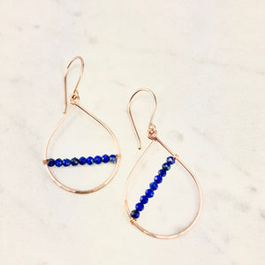 Small Rose Gold and Lapis Teardrop Earrings