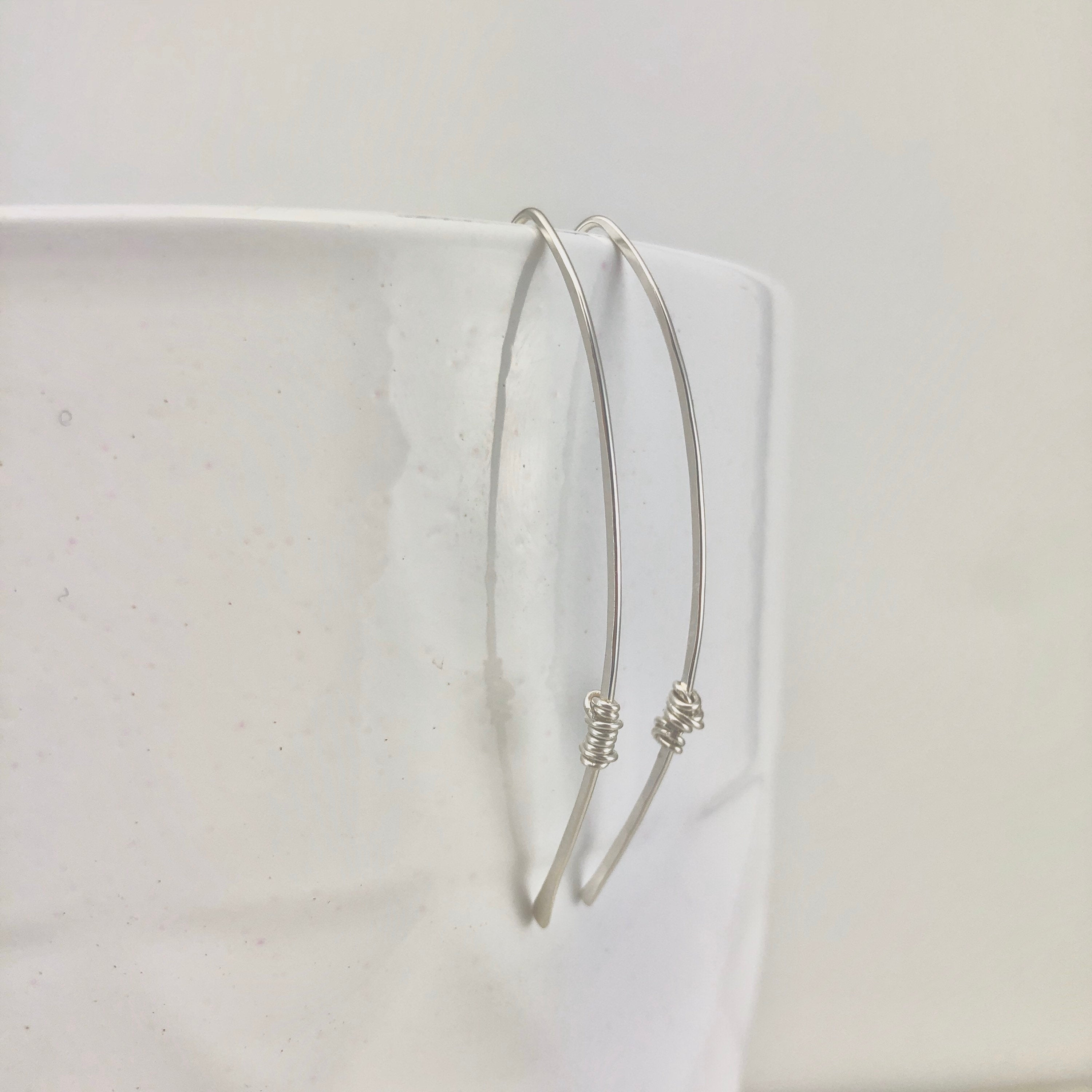 Hammered Silver Threader Earrings