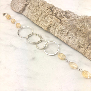 Hammered Sterling Silver Circles Bracelet with Citrine