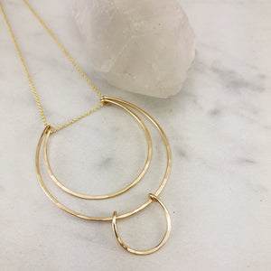 Geometric Gold Halo Necklace