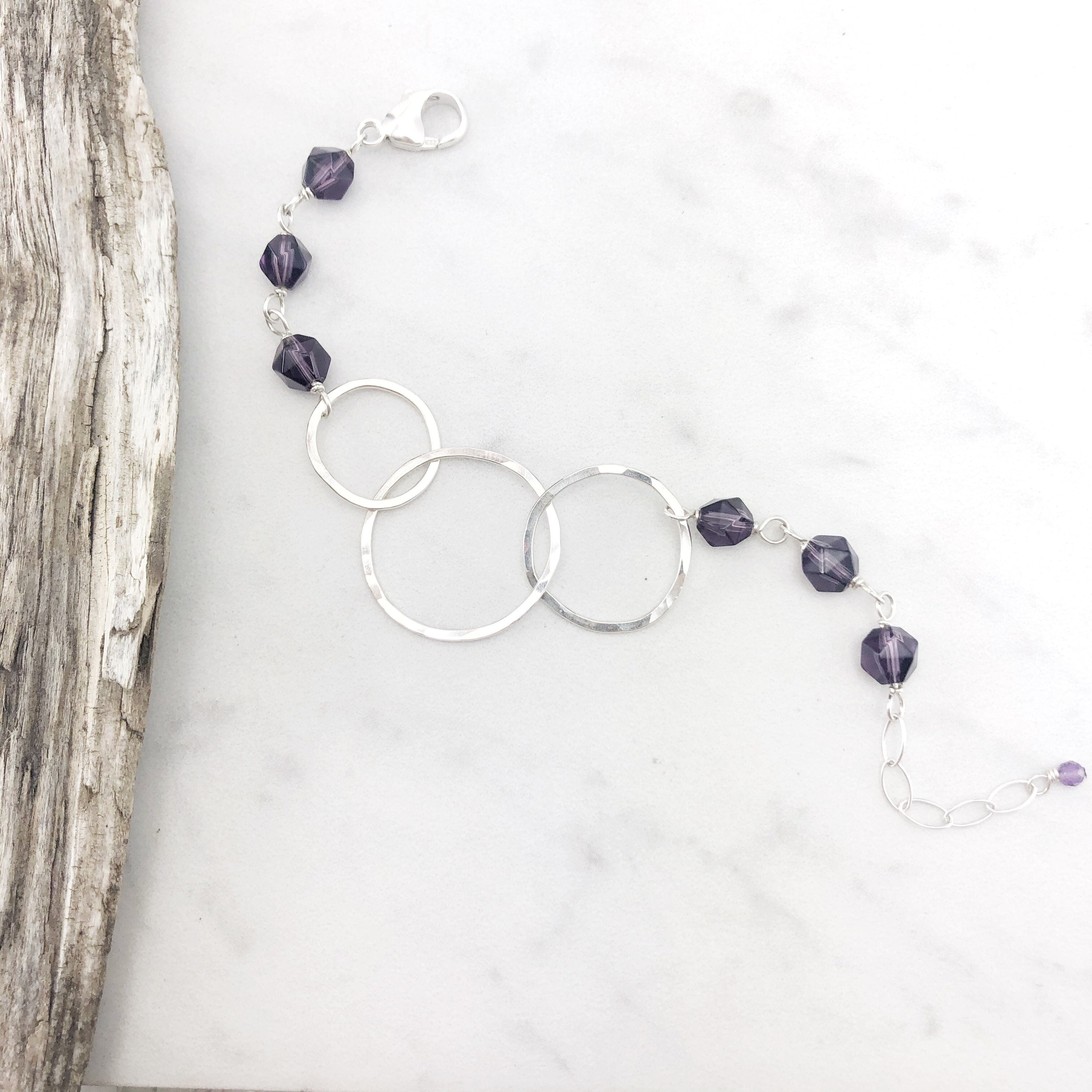 Hammered Sterling Silver Circle Link Bracelet with Amethyst