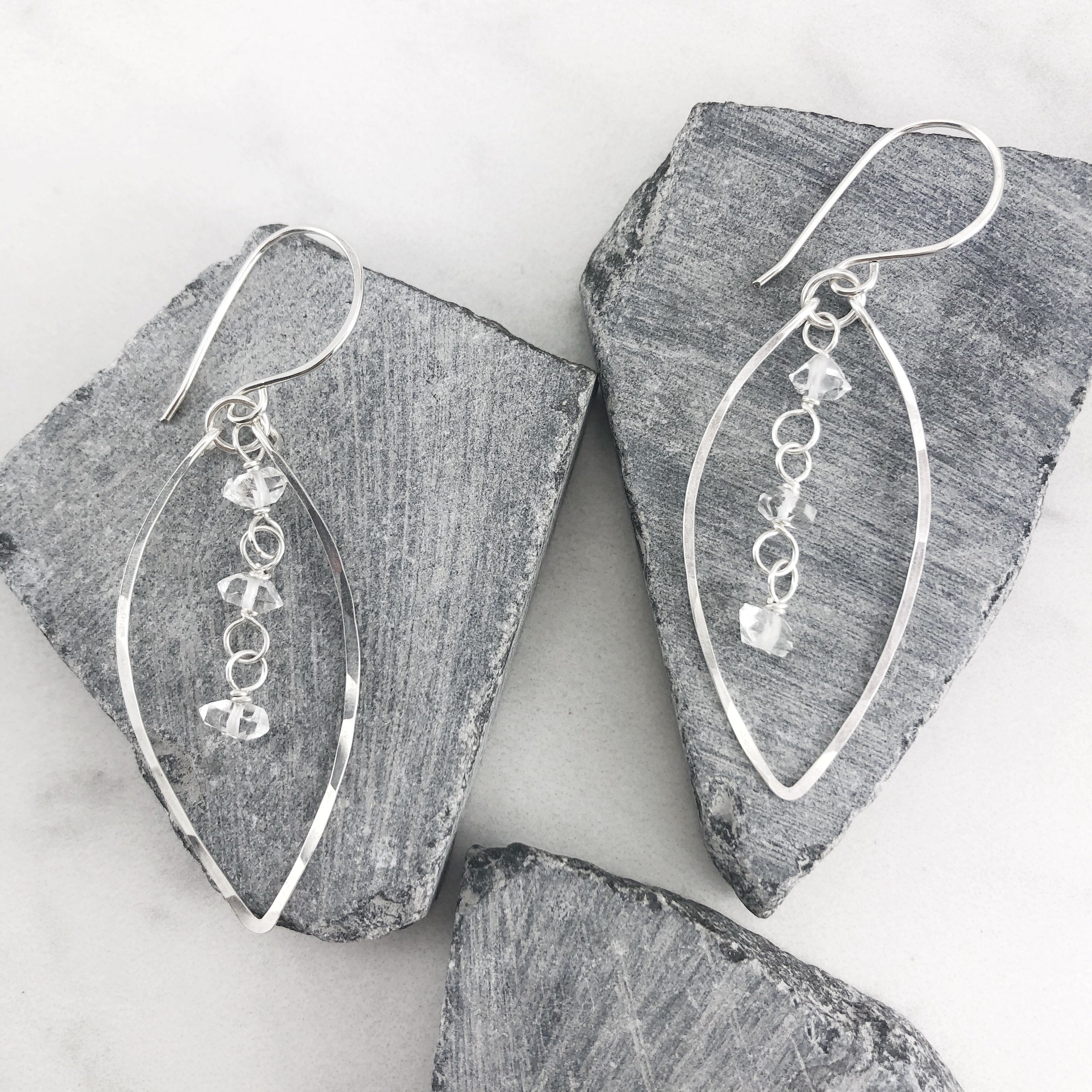 Silver Leaf Earrings with Herkimer Diamonds