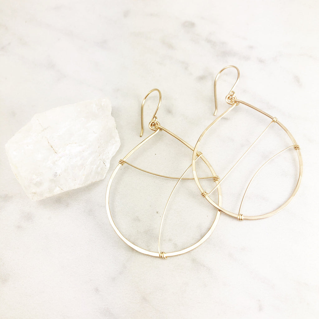 Gold Strung Teardrop Hoop Earrings