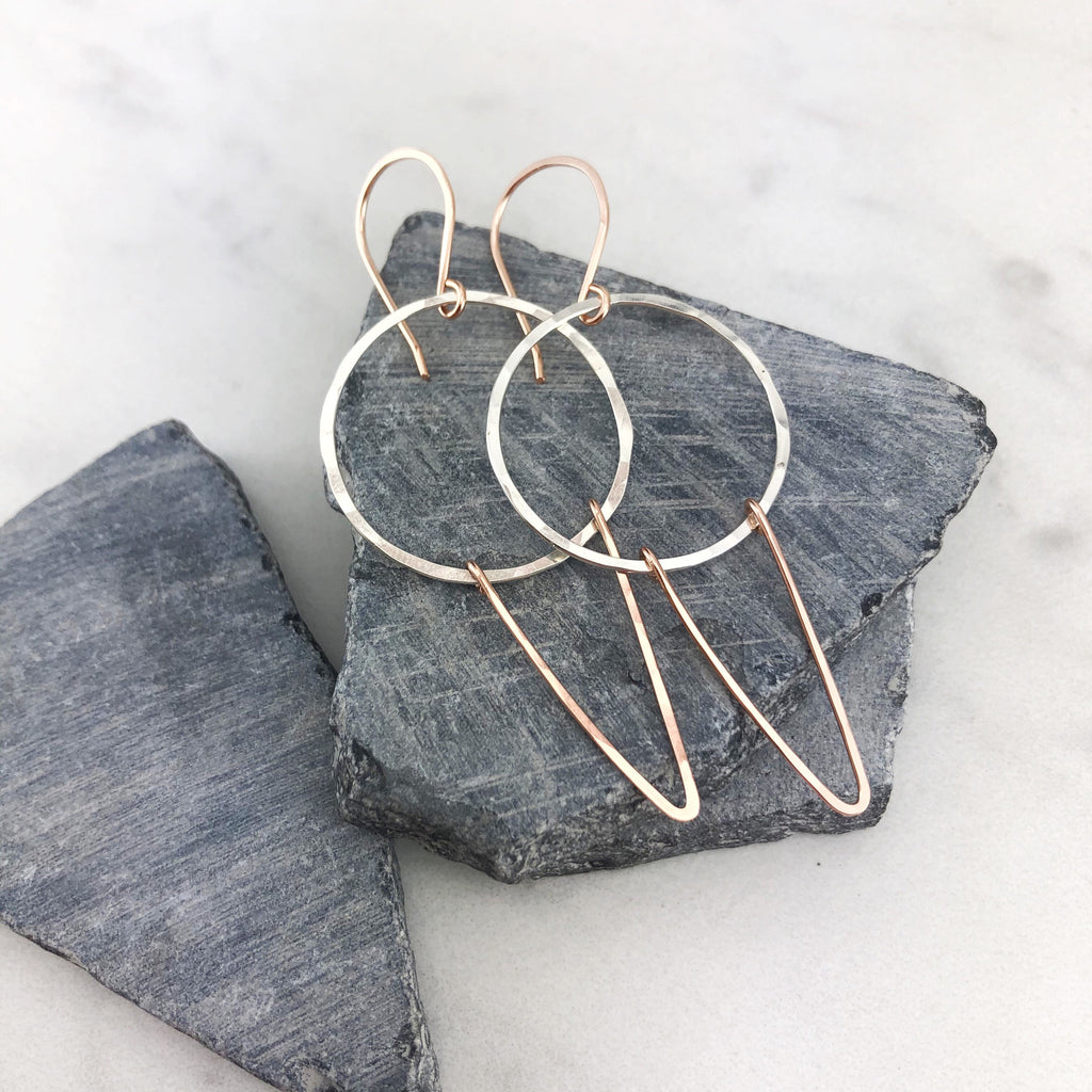 Silver and Rose Gold Geometric Earrings