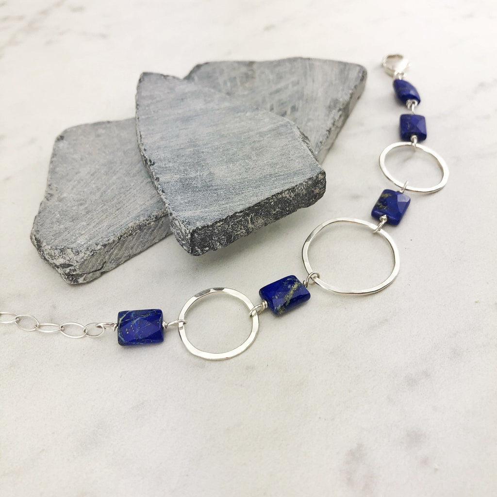 Hammered Sterling Silver Link Bracelet with Lapis