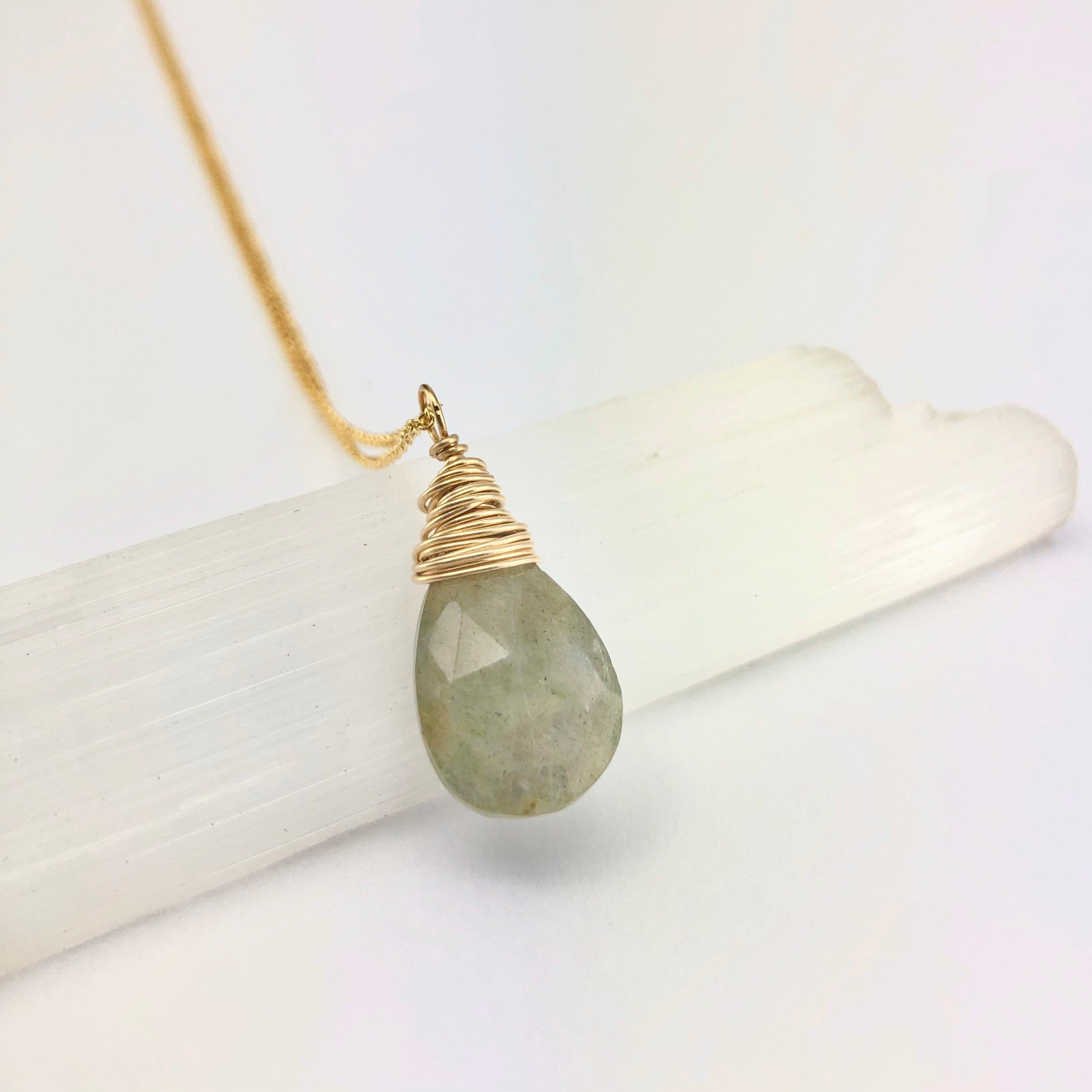 Faceted Gold Labradorite Teardrop Necklace