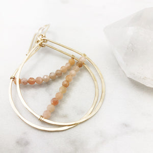 Peach Moonstone & Gold Teardrop Hoop Earrings