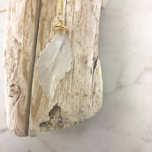 Carved Agate Feather and Gold Necklace