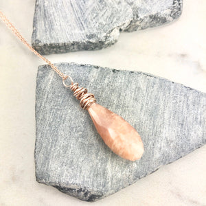 Faceted Gold Peach Moonstone Teardrop Necklace