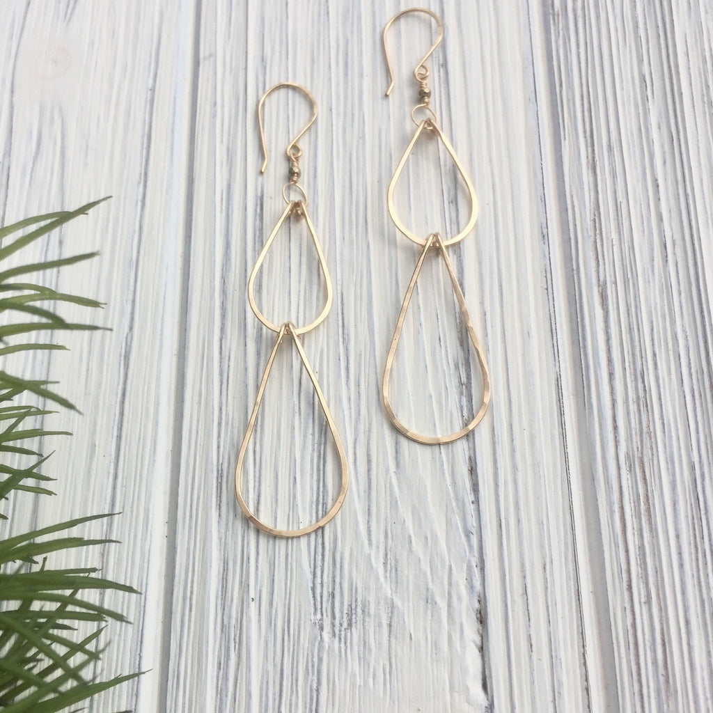 Small Gold Waterfall Teardrop Earrings