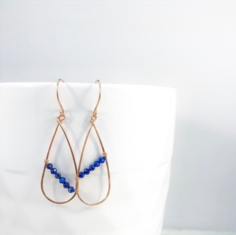 Skinny Rose Gold and Lapis Teardrop Earrings