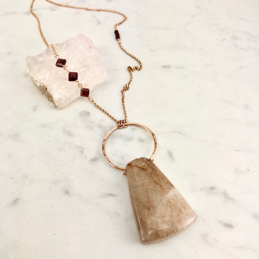 Handmade Rutilated Quartz and Garnet Rose Gold Necklace