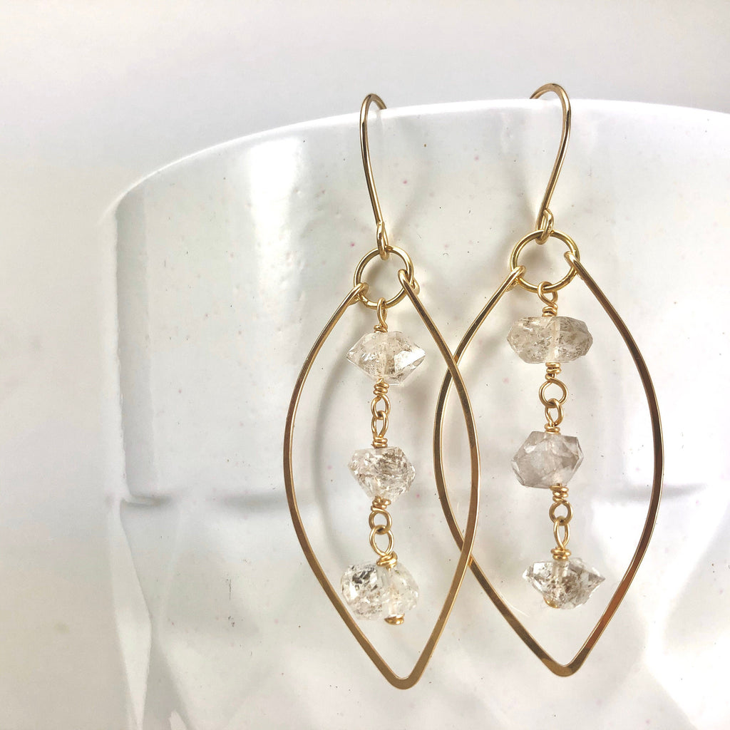 Gold Leaf Earrings with Herkimer Diamonds