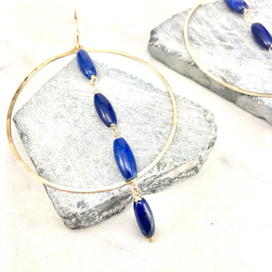 Large Gold Hoops with Lapis Lazuli
