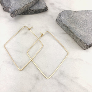 Large Gold Diamond Threader Earrings