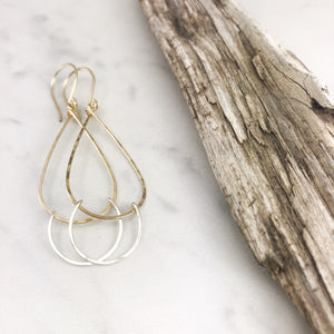 Hammered Gold and Silver Medium Teardrop Fall Earrings