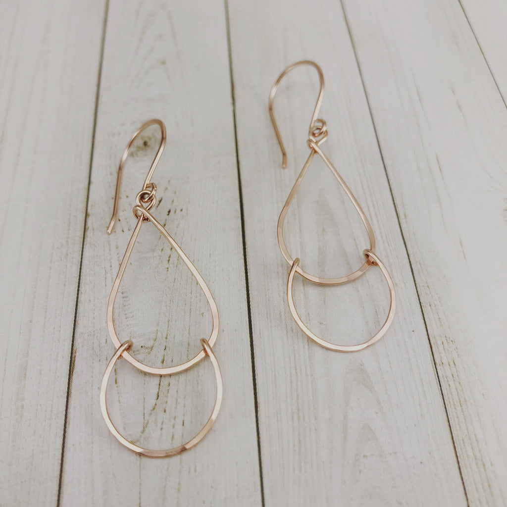 Dainty Rose Gold Small Teardrop Fall Earrings