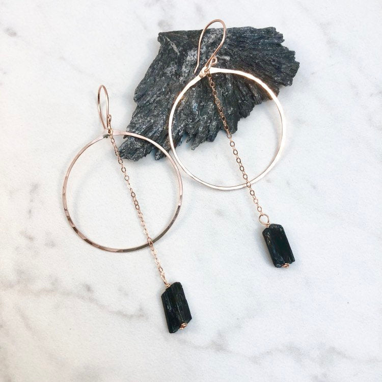 Rose Gold Hoop Earrings with Black Tourmaline