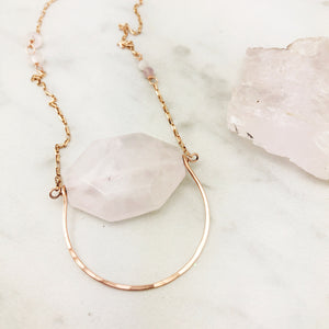 Handmade Rose Gold and Rose Quartz Swing Pendant