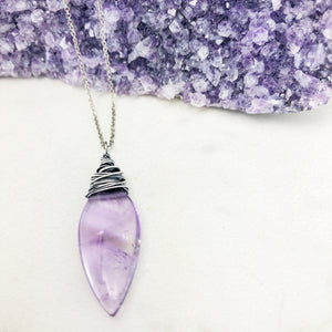 Oxidized Silver Amethyst Teardrop Necklace