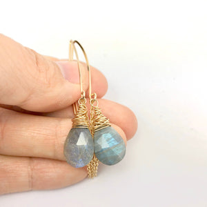 Boho Gold Labradorite Threader Earrings