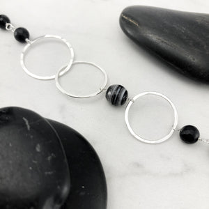 Hammered Sterling Silver Circles Bracelet with Onyx