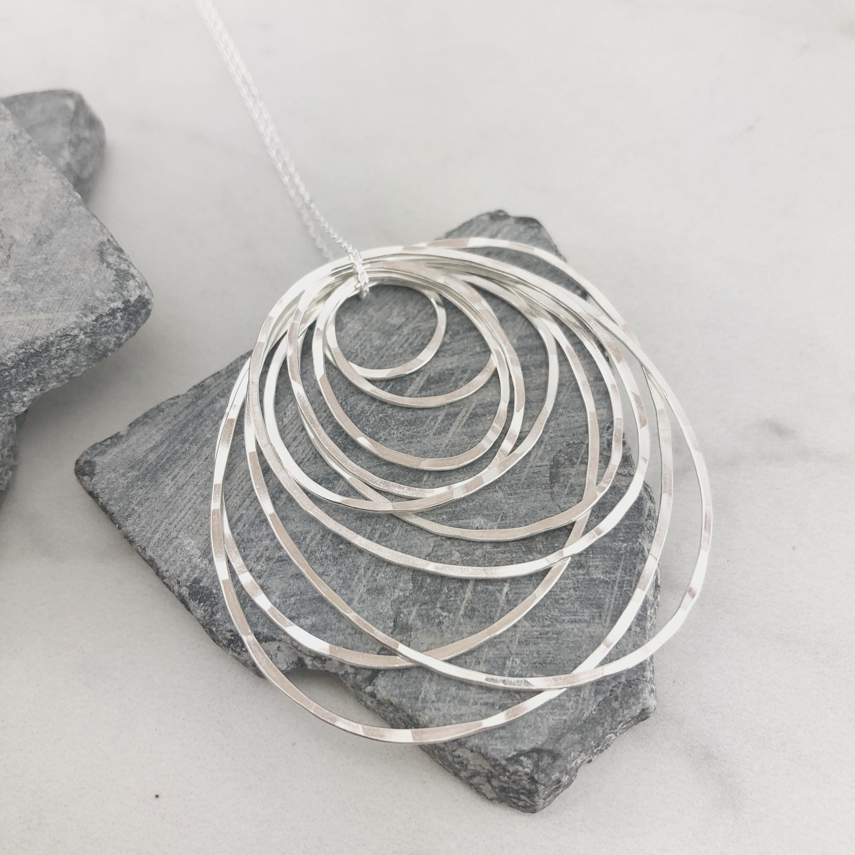 Sterling Silver Ten Circle Necklace
