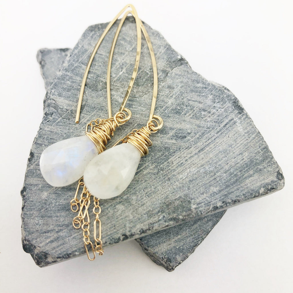 Gold Rainbow Moonstone Boho Earrings