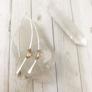Hammered Silver and Gold Threader Earrings with Herkimer Diamonds