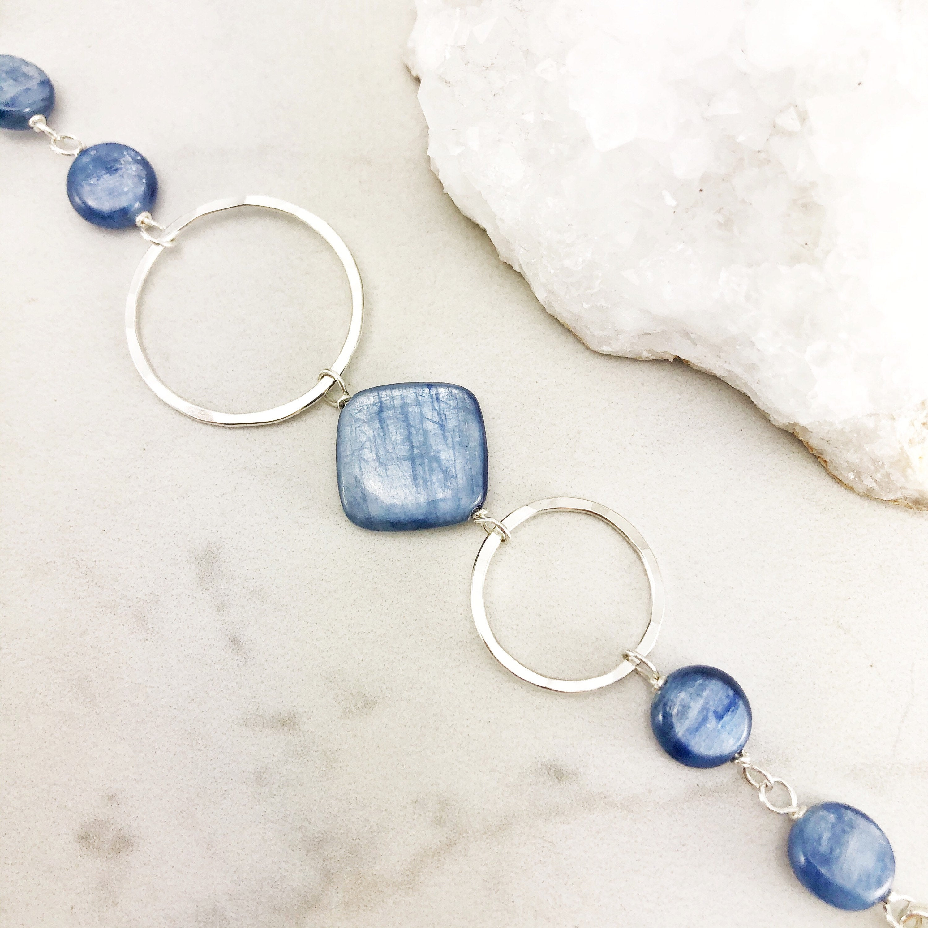 Hammered Sterling Silver Circles Bracelet with Kyanite