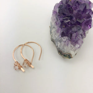 Rose Gold Arch Earrings with Herkimer Diamonds