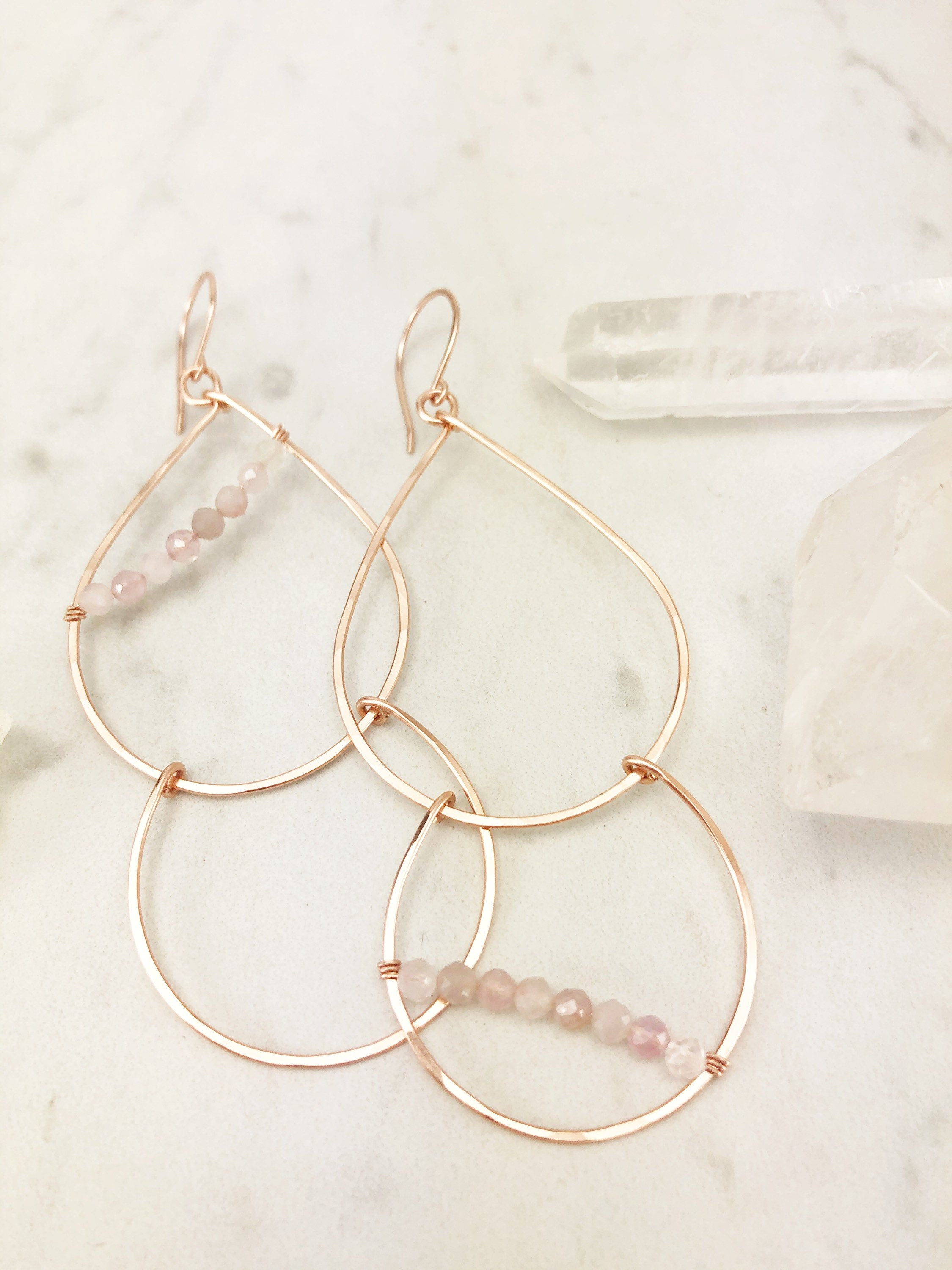 Rose Gold and Rose Quartz Teardrop Fall Earrings