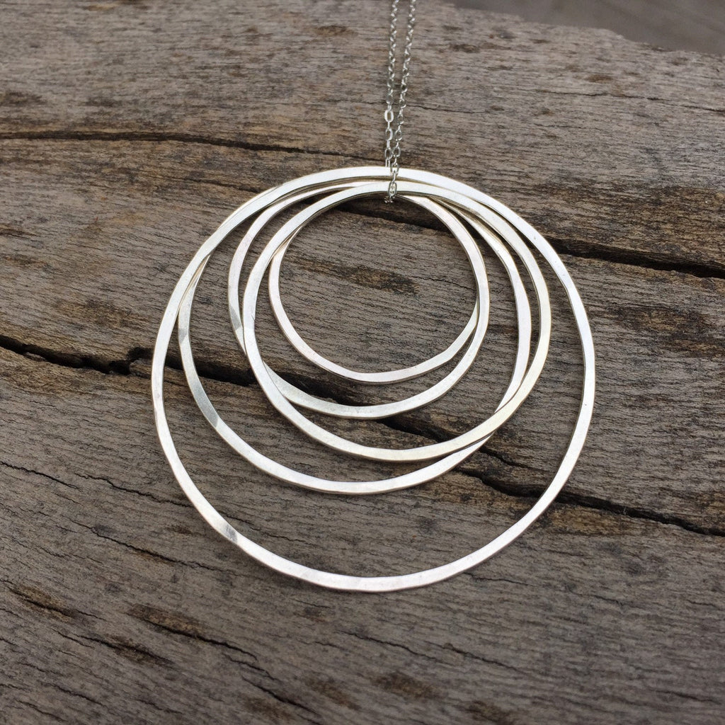 Sterling Silver Hammered Five Circle Necklace