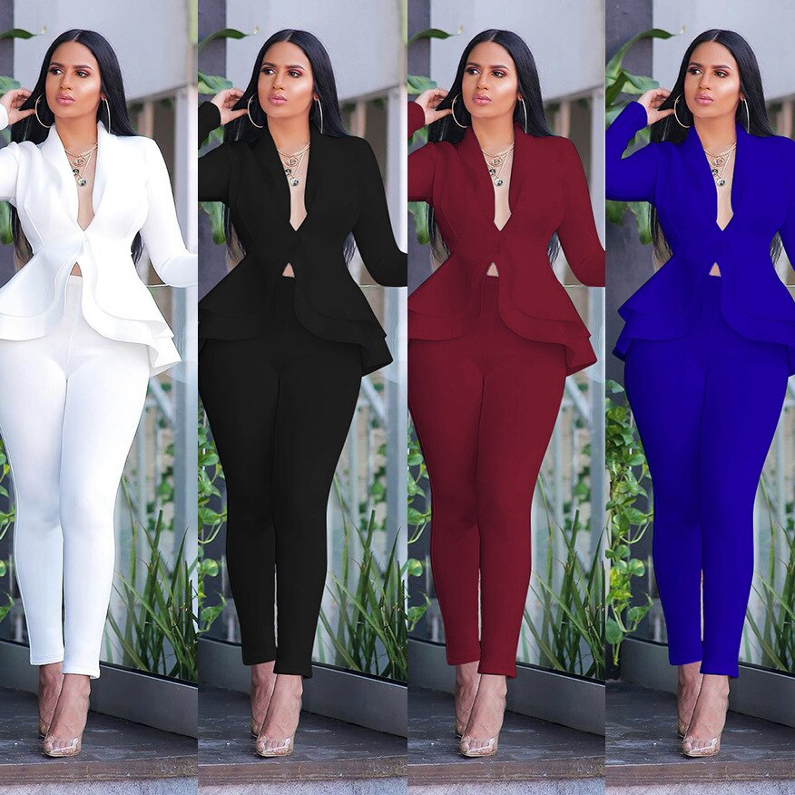 Canifon Womens Tracksuits Formal Trouser Suits Solid V-Neck Ruffles Work Blazers Tops and Bottoms Set