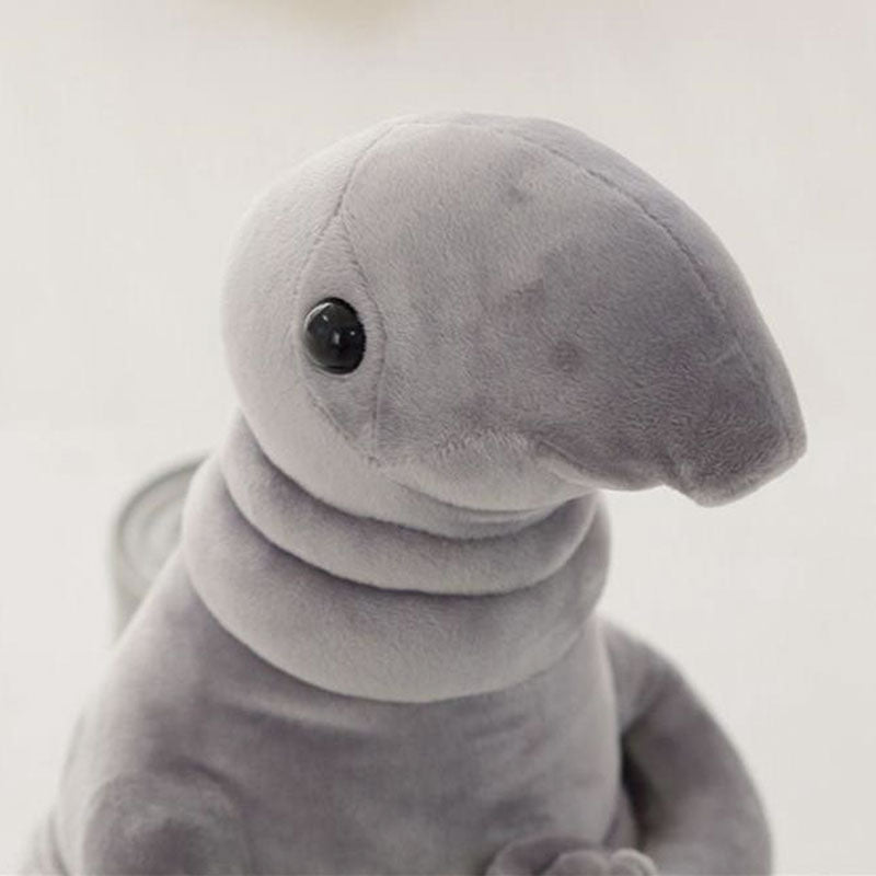Grey Wosh Plush looking into the camera with a blank background