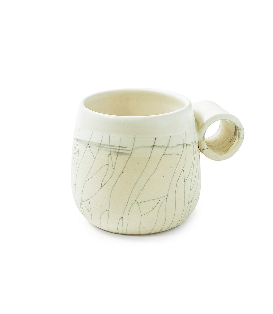 White Stone Crackle XL Knuckle Mugs (set of 2)