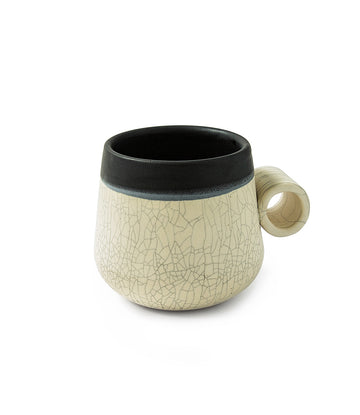 Black Dipped Stone Crackle Knuckle Mugs (set of 2)