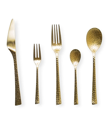 Wasabi Premium Gold Hammered 5-Piece Cutlery Set