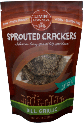 Livin Spoonful Sauerkraut Crackers, Garlic Dill 4.5 oz - Natural Zing