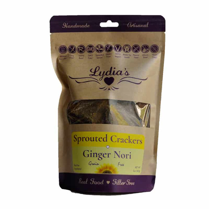 Lydia's Ginger Nori Sprouted Crackers 5 oz, Pack of 6